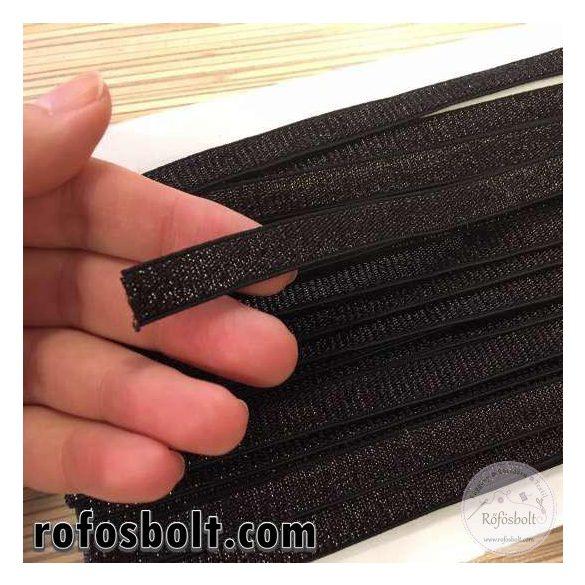 1 cm széles, fekete csillogós gumiszalag