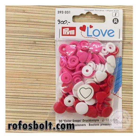 Piros-fehér-rózsaszín szívecske alakú műanyag patent (393 031)