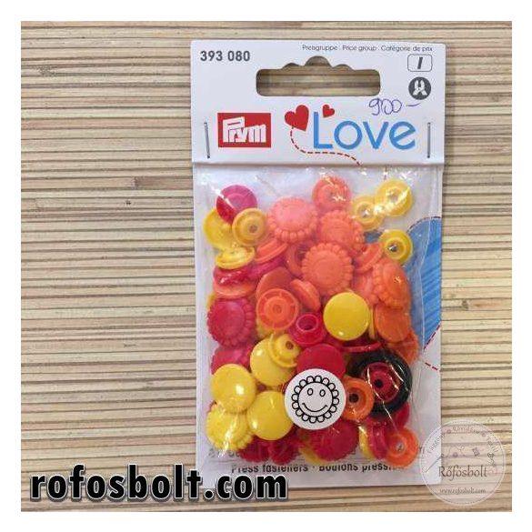 Prym Love színes műanyag patent (narancs-piros-sárga) (393 080)