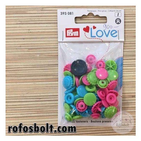 Prym Love színes műanyag patent (rózsaszín-zöld-kék) (393 081)