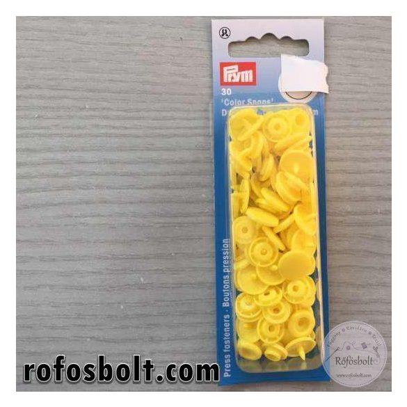 Sárga köralakú műanyag patent (393107)