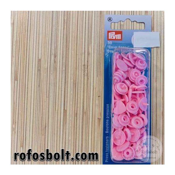 Rózsaszín szívecske alakú műanyag patent (393 318)