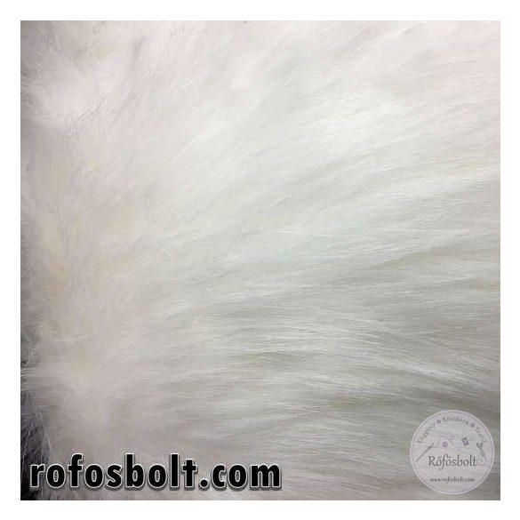 Fehér hosszúszőrű műszőrme (kb 7cm-es)