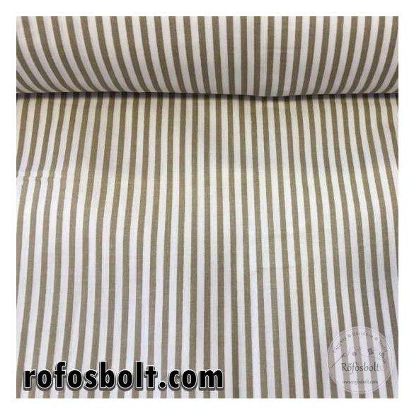 Fehér-drapp csíkos pamutvászon (ME1598)