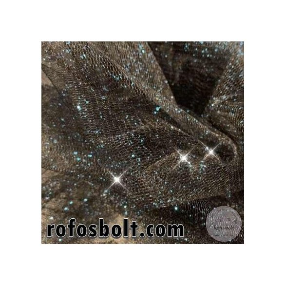 Fekete alapon kék csillámos tüll (ME3107)