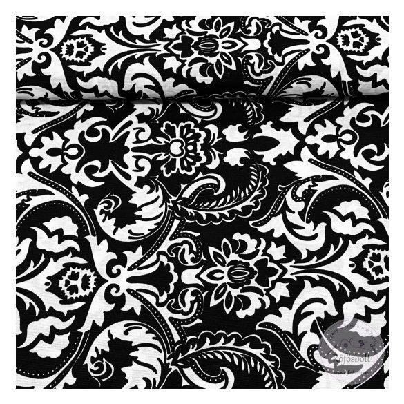Fekete-fehér barokkos mintás dekortextil (ME3833)