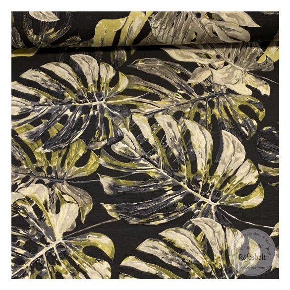 0,44M EGYBEN KÉRHETŐ Fekete alapon zöldes-szürkés pálmaleveles dekortextil (ME3965)