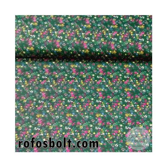 Zöld a. rózsaszín-kék-sárga kisvirágos pamutvászon (ME4318)