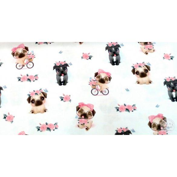 Designer prémium pamutvászon: Koszorús kutyusos (ME4329)