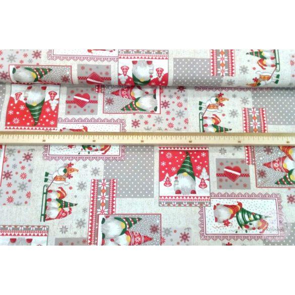 Keretezett manós képes karácsonyi dekortextil (ME4331)