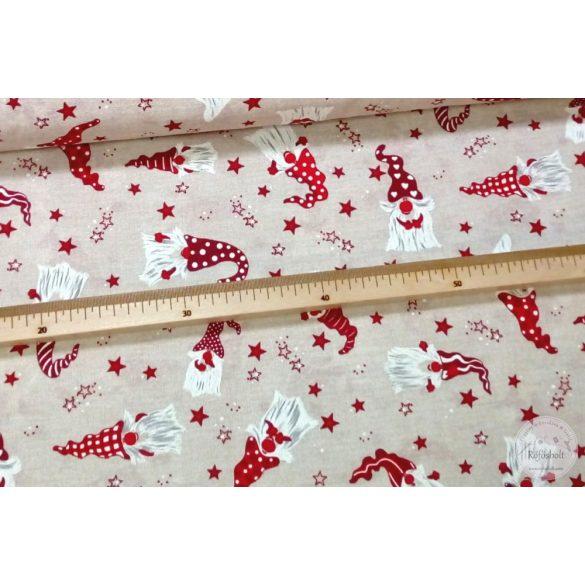 Natúr alapon mintás sapkás manós karácsonyi dekortextil (ME4332)