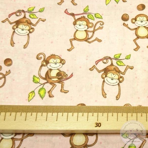 Kókusszal játszó mókás majmok pamutvászon  (ME4344)