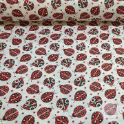 Piros fekete virágos katica pamutvászon (ME4346) 15292