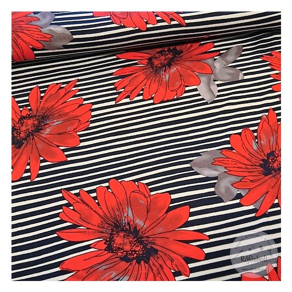 Fekete fehér csíkos alapon piros vasvirág jersey (ME4388)
