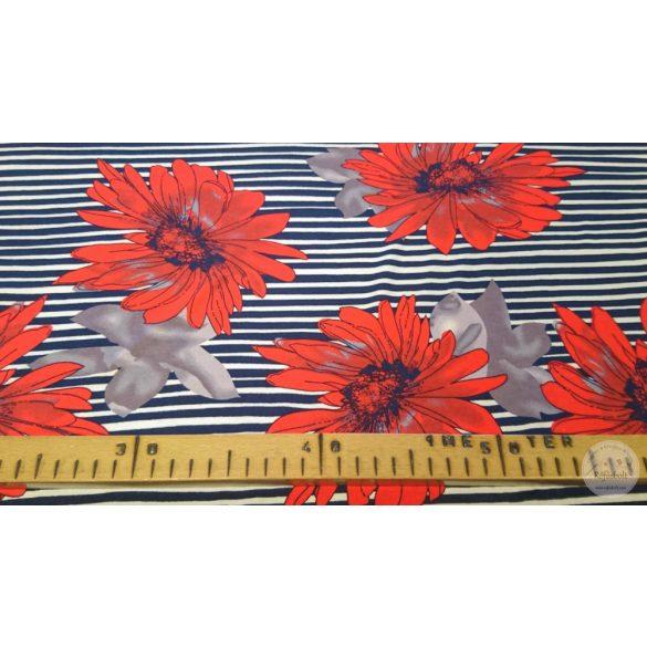 1,5 m EGYBEN KÉRHETŐ Fekete fehér csíkos alapon piros vasvirág jersey (ME4388)