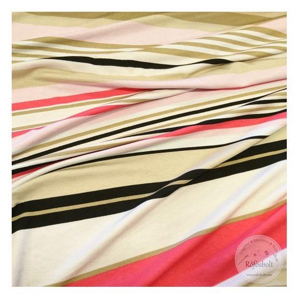 Pasztel színvilágú drapp rózsaszín pink csíkos jersey (ME4389)