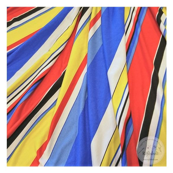 Élénk színvilágú piros sárga kék csíkos jersey (ME4390)