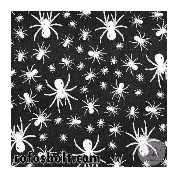 Fekete alapon fehér pókos 160 cm sz. pamutvászon (ME4264)