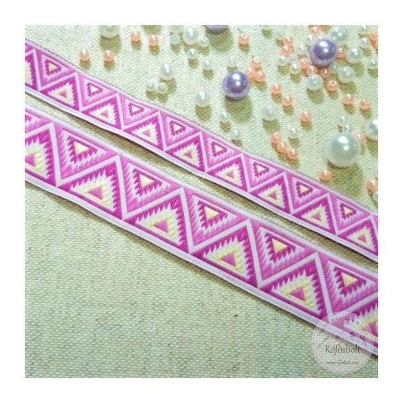 Mályva, rózsaszín háromszög mintás szalag (SZ10)