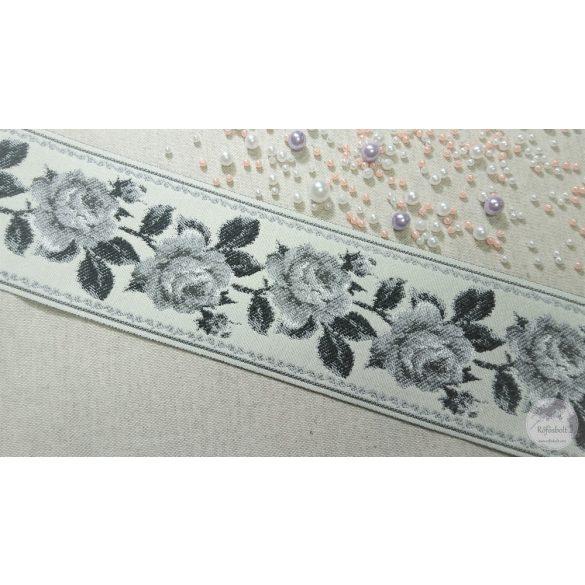Fekete rózsás hímzett hatású szalag (SZ22)
