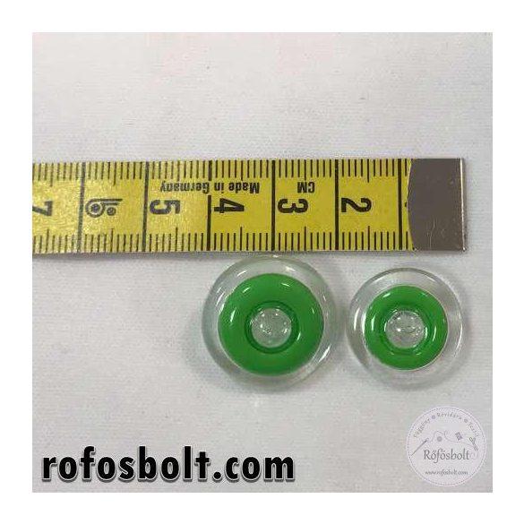 Áttetsző gomb zöld díszítéssel (KICSI)