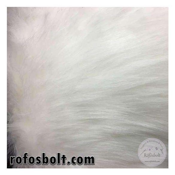 Fehér hosszú szőrű műszőrme 20 cm-es csík