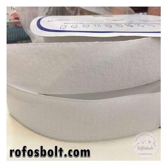 Fehér felvarrható tépőzár - 5 cm széles