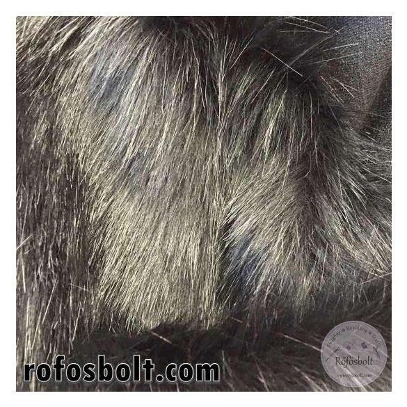 Fekete hosszú szőrű műszőrme 20 cm-es csík