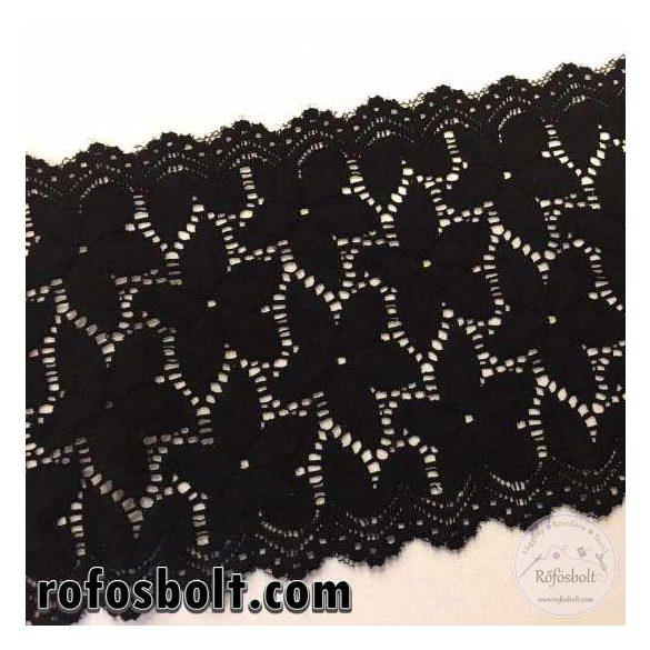 16 cm széles elasztikus csipke: fekete
