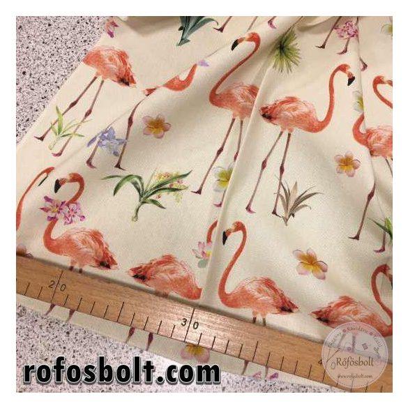 Tört fehér alapon flamingós lakástextil (Laguna Celtic Tropical C50)