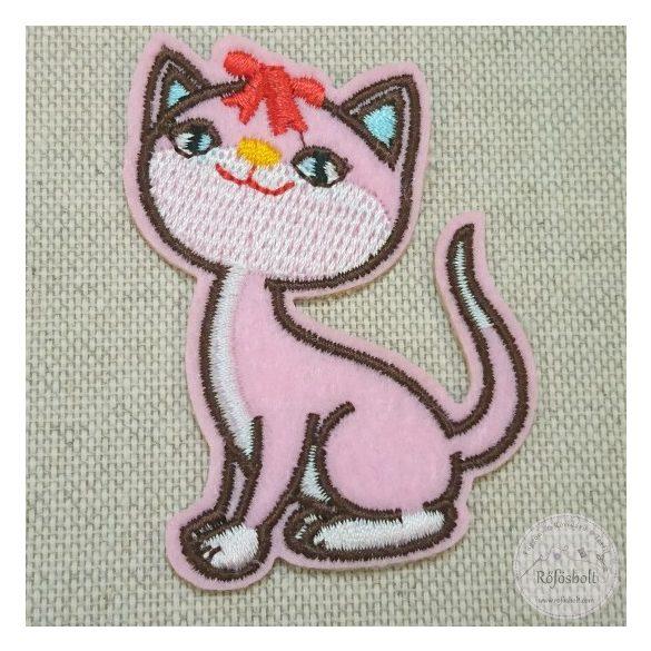 Rózsaszín cica piros masnival (FM139)