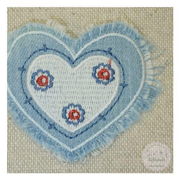 Fehér szív, farmeros (FM174)