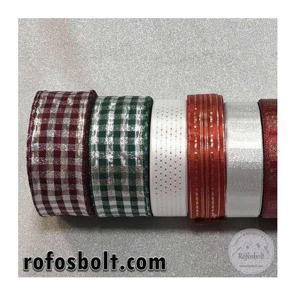 Karácsonyi mintás szalagok II.: Fehér csillogós szalag (2,5 cm)