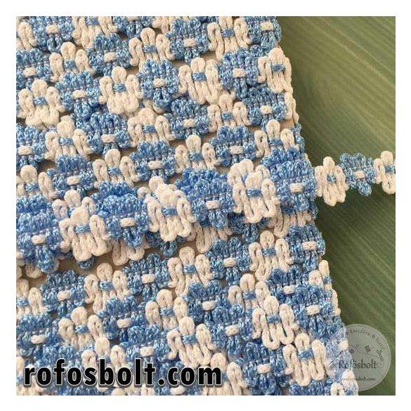 Kék-fehér virágos, díszítőszalag (1 cm széles)