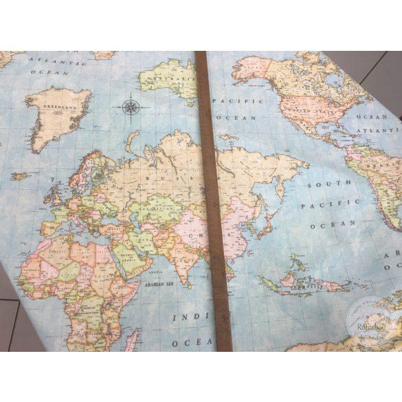Kék alapon világtérképes dekortextil (ME1141)