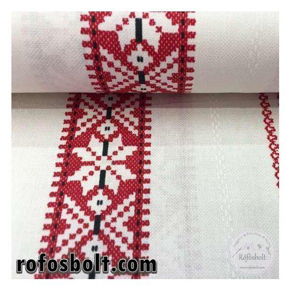 EGYBEN KÉRHETŐ 0.55m  Fehér alapon piros szőttes mintás pamutvászon (ME1165-kékfestő)