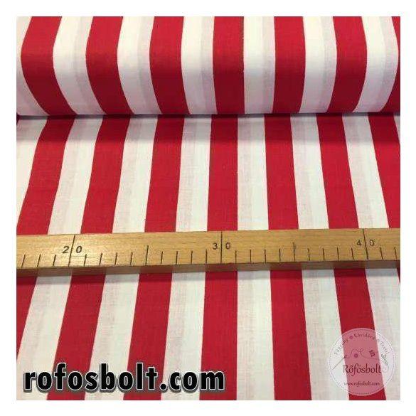 Fehér-piros csíkos (2 cm széles csík) pamutvászon (ME1561)