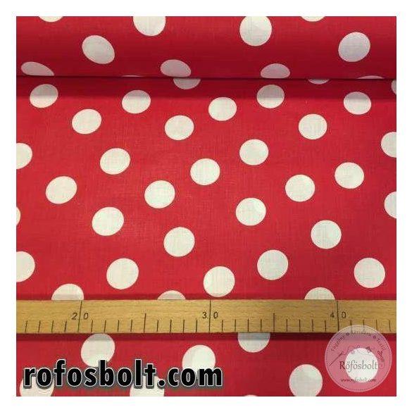 Piros alapon 2,5 cm-es fehér nagypöttyös pamutvászon (ME1566)