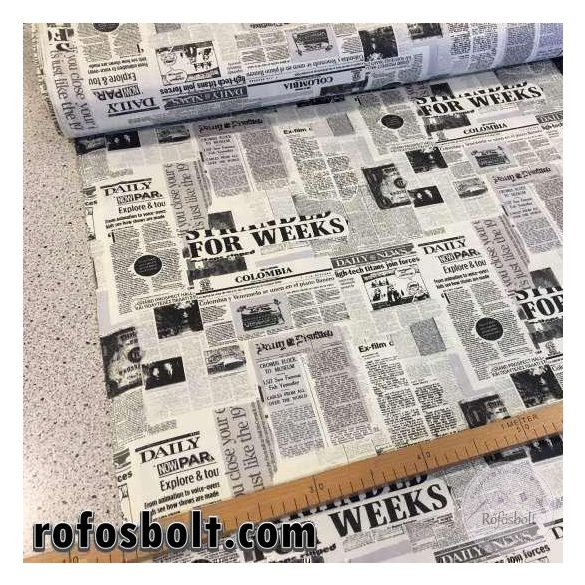 Fekete-fehér újságpapíros pamutvászon (ME1574)