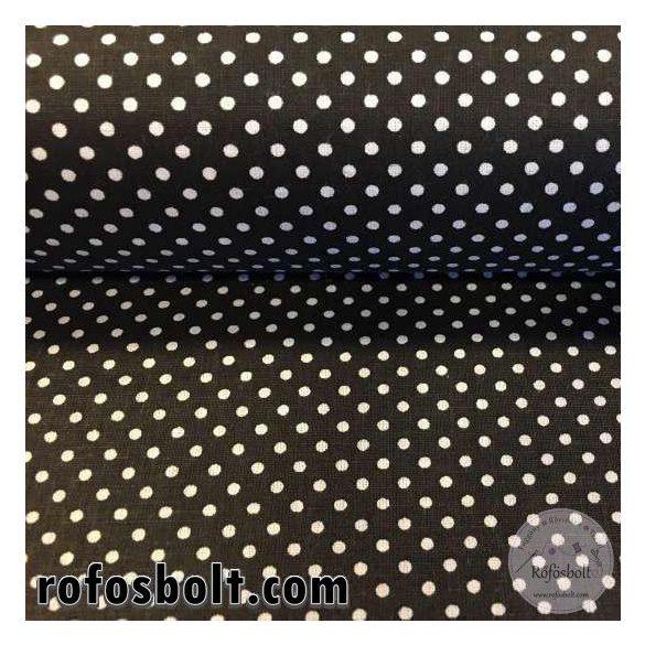 Fekete alapon fehér kispöttyös (2mm-es pötty) pamutvászon (ME1575)