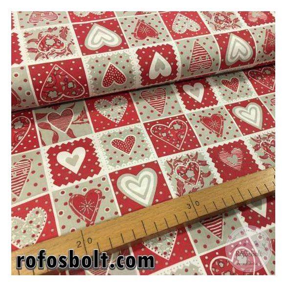 Piros-fehér négyzetekben szívecskés pamutvászon (ME1641)