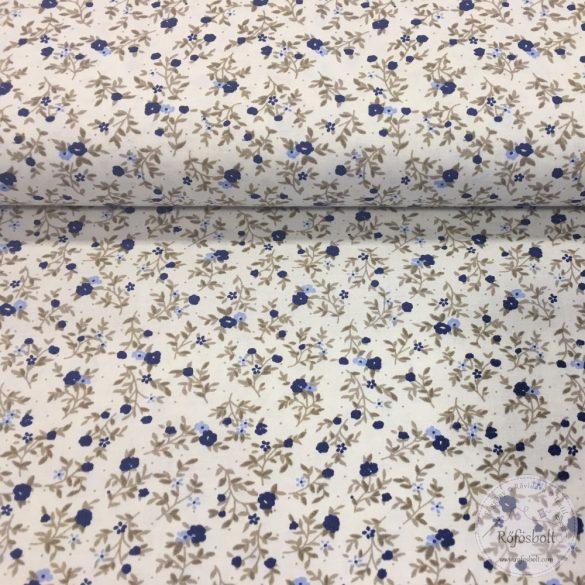 Vaj alapon kék kisvirágos pamutvászon (ME1650)