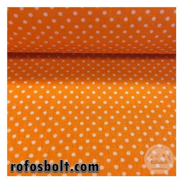 Narancs alapon fehér kispöttyös (2 mm-es pöttyös) pamutvászon (ME1738)