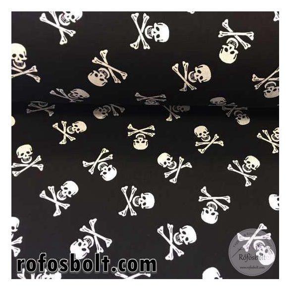 Fekete alapon fehér koponyás (Kis-Kalózoknak) pamutvászon (ME1748)