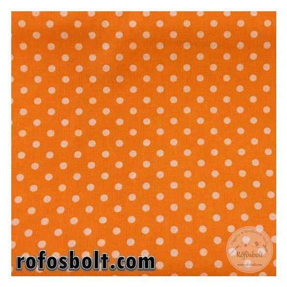 Narancs alapon borsó pöttyös (6mm) pamutászon (ME1862)
