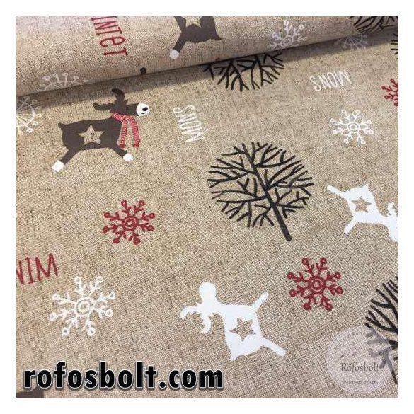 Natúr alapon szarvasos-fás vastagabb karácsonyi dekortextil (ME1873)