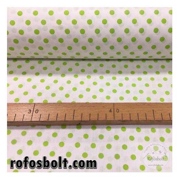 Fehér alapon kiwi borsó pöttyös (6mm) pamutvászon (ME2163)