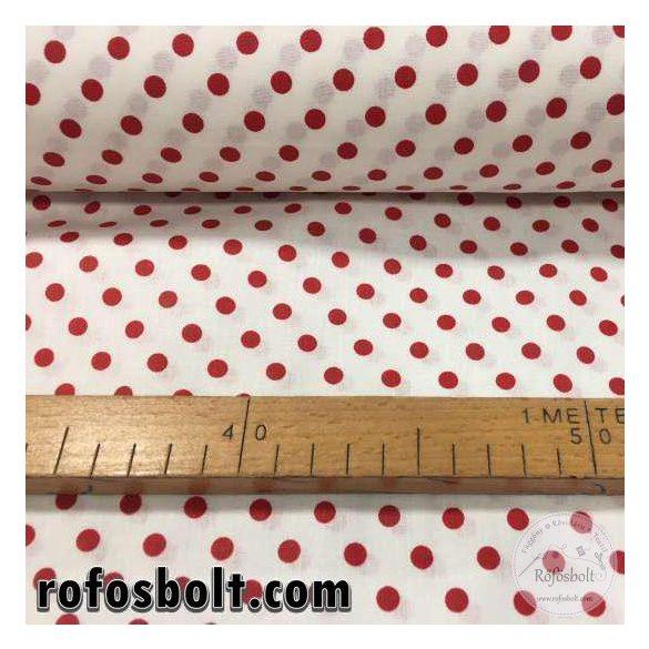 Fehér alapon piros borsó pöttyös (6mm) pamutvászon (ME2164)