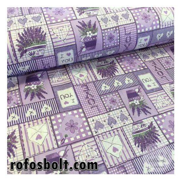 Lila alapon I love you patchwork levendulás pamutvászon (ME2204)