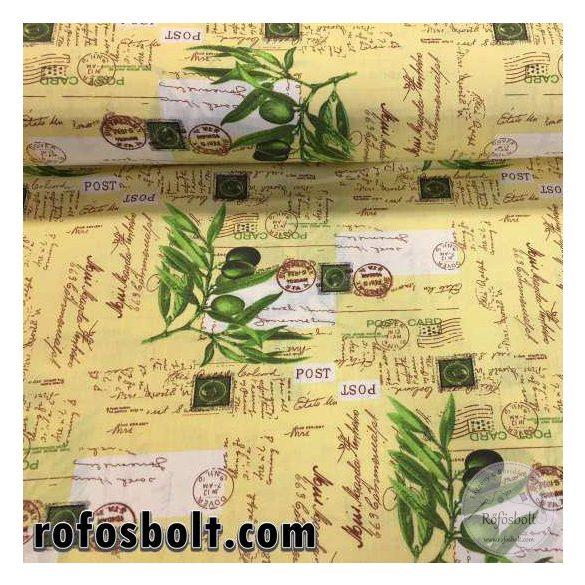 Sárga alapon olivaágas pamutvászon (ME2222)